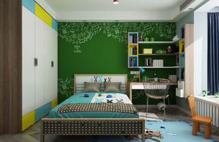 120平现代简约装修儿童房学习区
