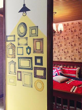 复古美式二居装修手绘墙设计