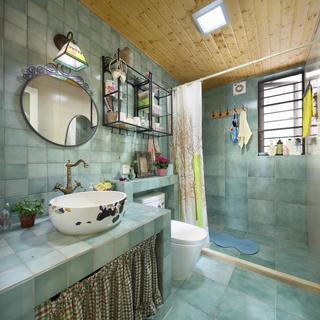 清新混搭卫生间蓝色瓷砖装饰效果图
