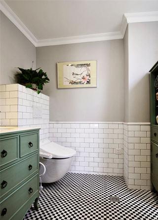 复古美式卫生间 文化砖背景墙设计