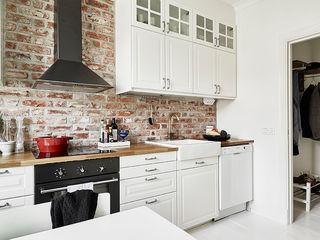 复古北欧风厨房 文化砖背景墙装修