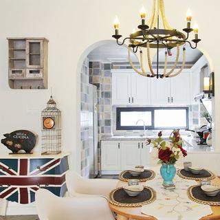 浪漫美式地中海 餐厅拱门隔断设计