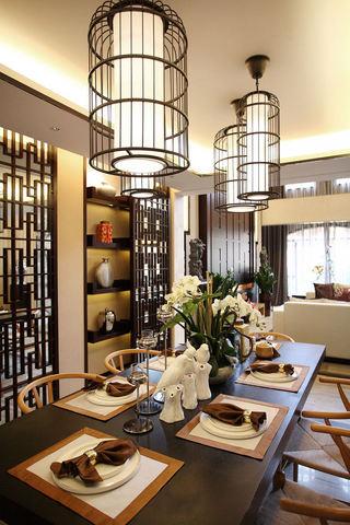 典雅中式餐厅 鸟笼吊灯图片大全