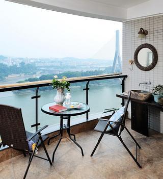 自然田园风格海景阳台装修布置图
