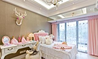 甜美粉色简欧儿童房装饰大全
