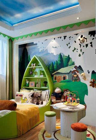 绿色清新自然欧式别墅儿童房手绘墙设计装修美图
