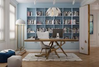 法式风格蓝调书房装修效果图