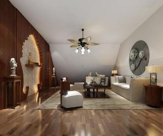 新中式四居装修阁楼会客厅