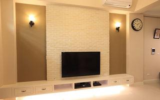 温馨中性色简约风格文化砖电视背景墙设计