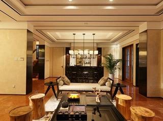 华丽现代中式混搭别墅茶室吊顶设计