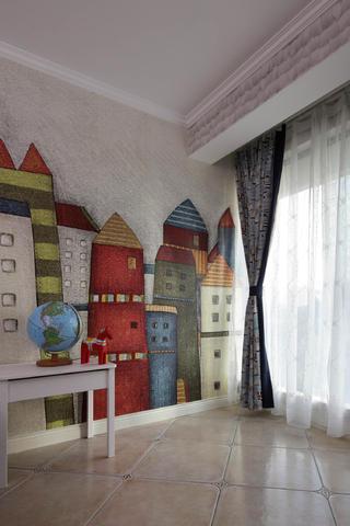 复式三居装修手绘墙欣赏