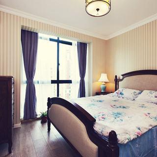 美式田园风卧室窗帘设计