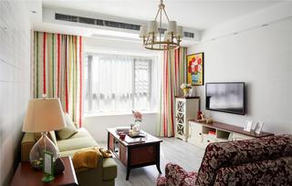 90平美式二居装修窗帘图片