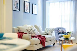 三居室北欧风之家窗帘图片