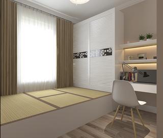 美式混搭三居榻榻米卧室装修效果图