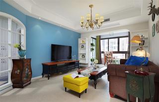 二居室美式风格家电视背景墙图片