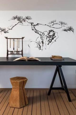 现代中式风书房手绘墙欣赏