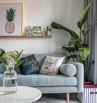 自然北欧风二居装修沙发布置图