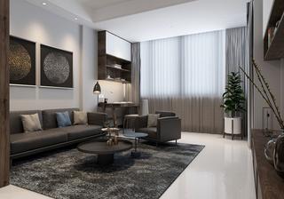 90平现代简约客厅沙发装修布置图