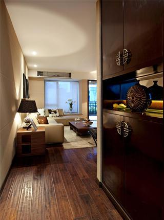 新中式风格样板间装修玄关柜设计