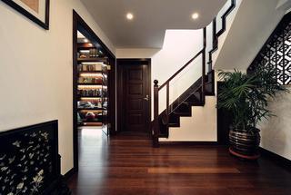 精美实木中式设计室内楼梯过道效果图