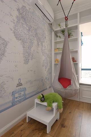 清新现代美式儿童房地图背景墙设计