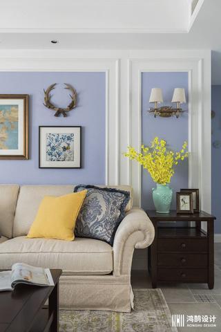 120㎡简约美式家沙发背景墙