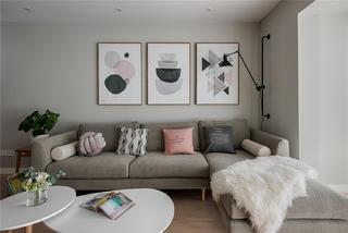 一字型北欧风格装修沙发背景墙图片