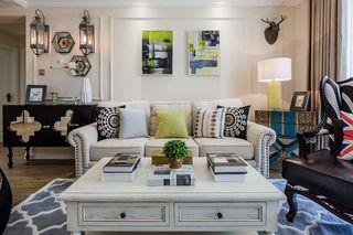 现代美式风格沙发背景墙装修效果图