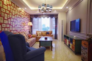 80平混搭风格家沙发背景墙图片