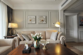 130平美式风格家沙发背景墙图片