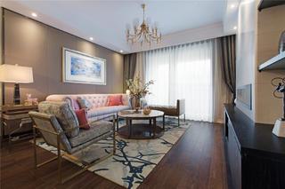 120平混搭风格家沙发背景墙图片