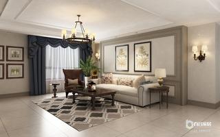 110㎡美式风格沙发背景墙装修效果图