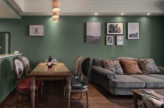 83㎡美式风格家沙发背景墙图片