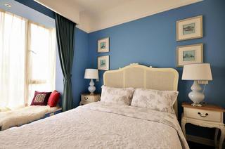 浪漫蓝色简美卧室背景墙装饰