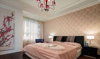 甜美简约新中式风格卧室背景墙设计