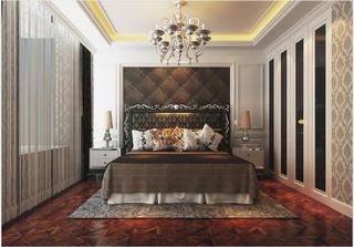 130平欧式风格卧室背景墙装修效果图