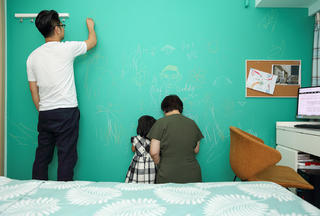 简约三居装修手绘墙图片