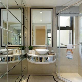 现代简约风格样板间装修洗手台设计