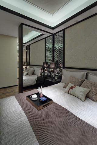 中式三居装修卧室一角