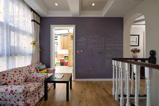 美式家装复式楼休闲区紫色黑板墙设计
