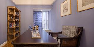 浪漫浅紫色复古美式小书房装潢设计