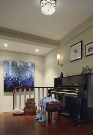 美式风格三居钢琴区