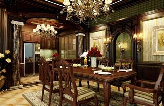 美式风格别墅装修餐厅效果图