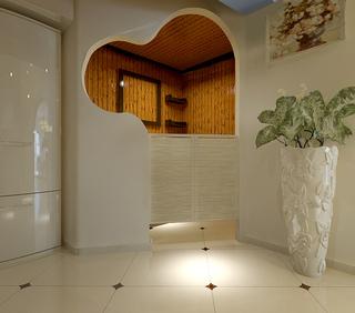 85平田园风格二居装修造型门设计图