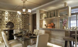 新古典主义风格餐厅镂空背景墙装潢图