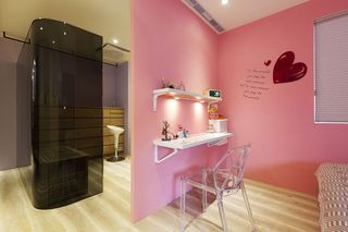 甜美粉色宜家风隔断墙设计