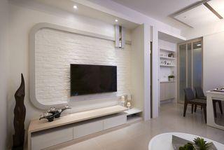 清新日式白色文化砖电视背景墙设计