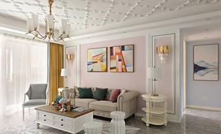 法式风格三居沙发背景墙装修效果图