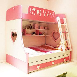 粉色双层床效果图
